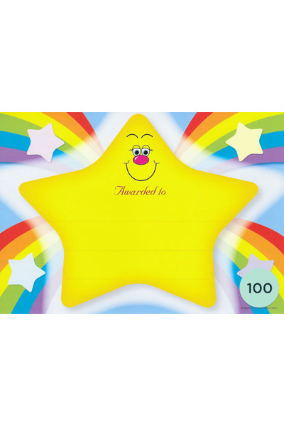 Rainbow Star Merit Certificate - Pack of 100 Cards