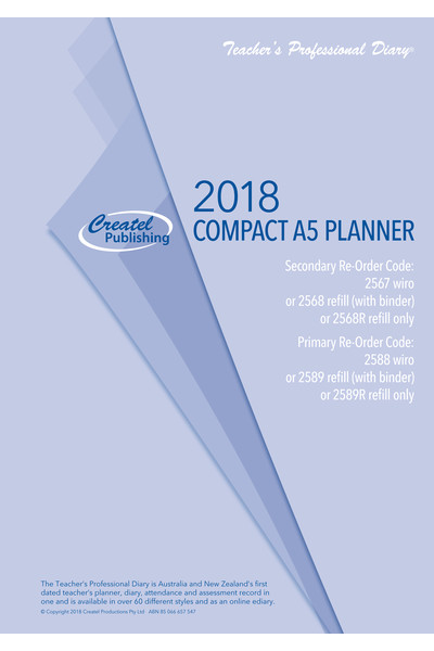Secondary Compact A5 Daily Planner 2018 - Loose Leaf Refill