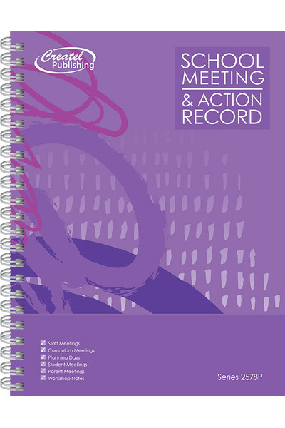 School Meeting Notes & Action Record Book - Purple