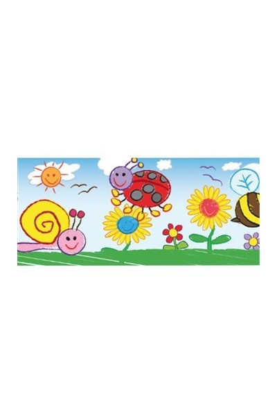 Bugs and Flowers Kid Drawn Large Border