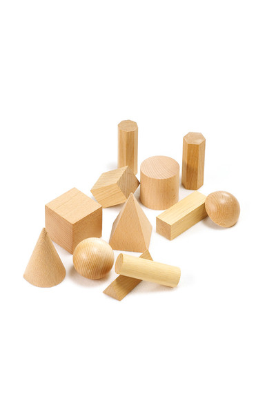 Wooden Geometric Solids - Set of 12