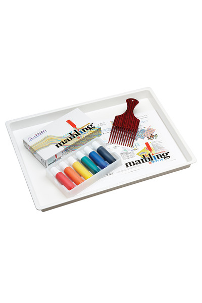 Marbling Ink, Tray, Comb & Paper Set