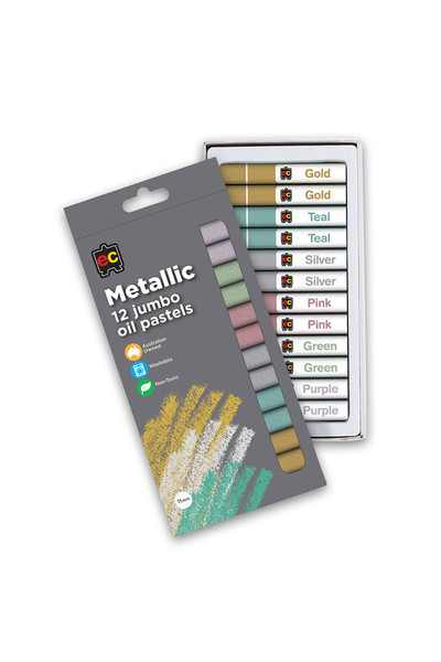 Jumbo Metallic Oil Pastels - Pack of 12