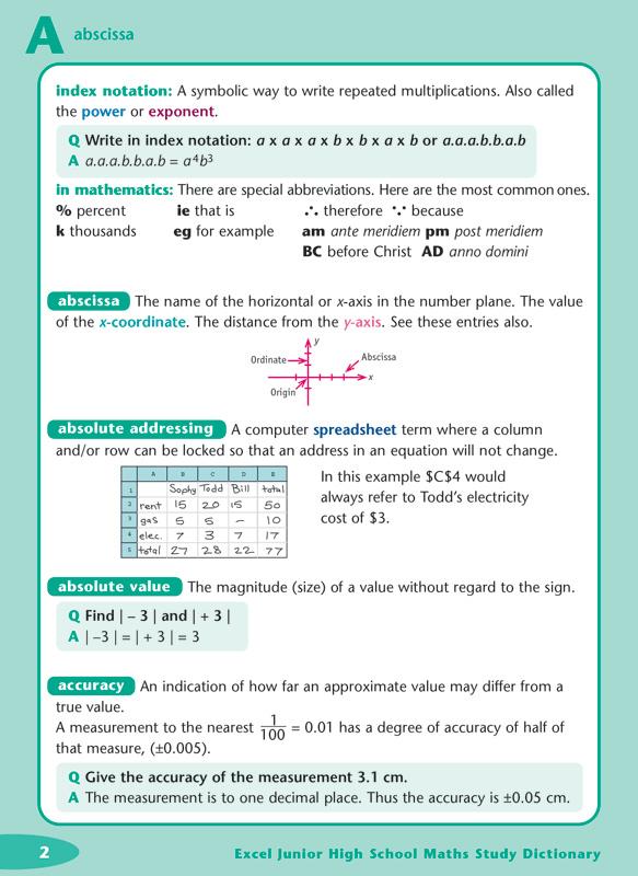 Excel Dictionaries Junior High School Maths Study Dictionary