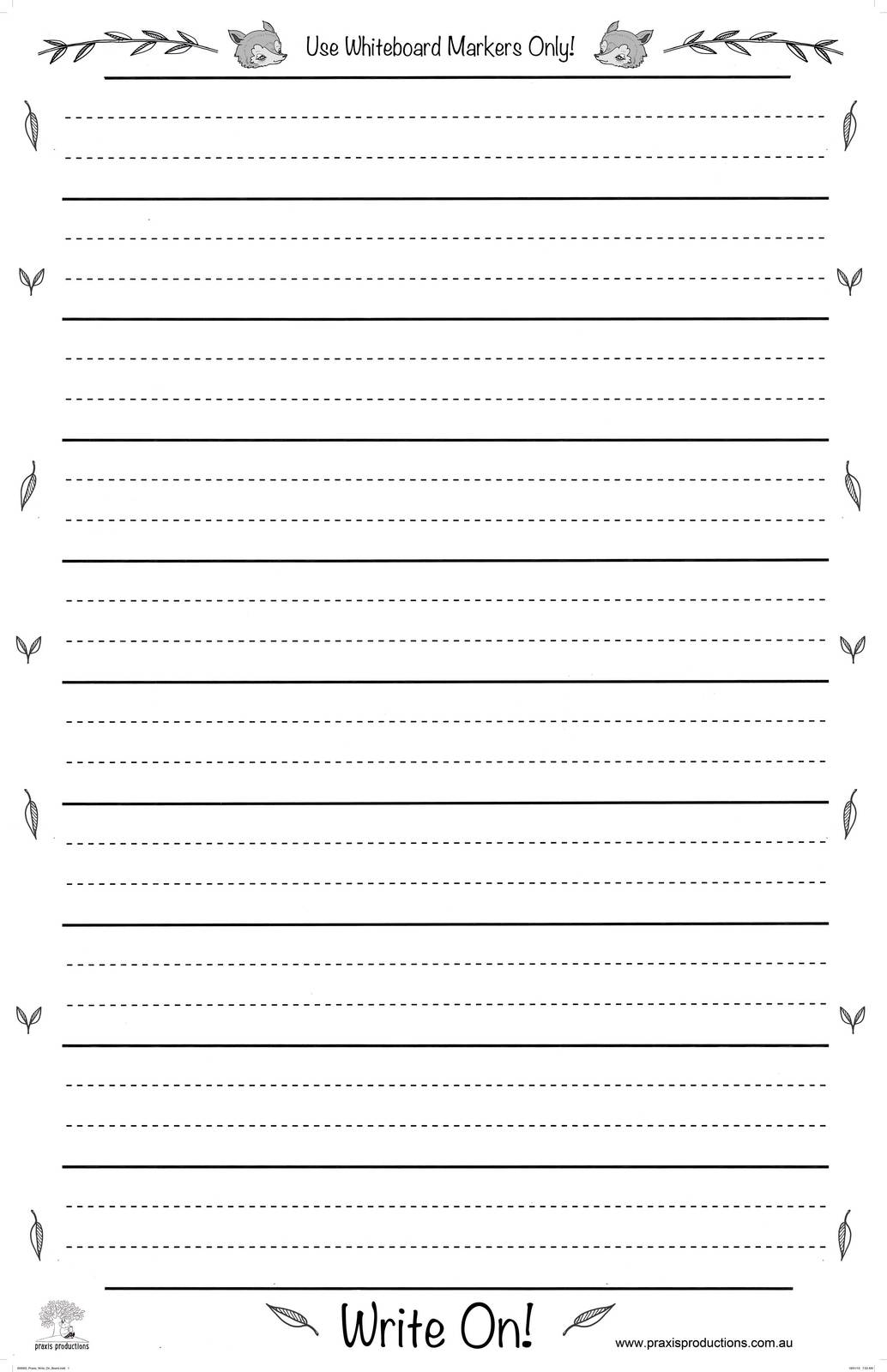 Write On - Large Laminated Dotted Thirds Chart - Praxis