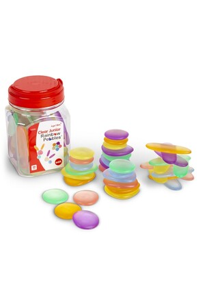 Junior Rainbow Pebbles - Jar of 36: Clear