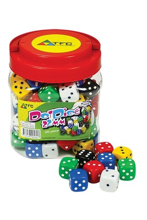 Dice - 6 Face: Dot 22mm Jar
