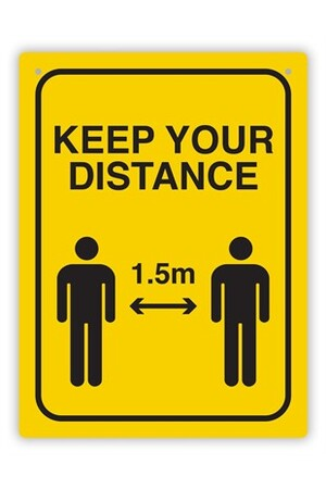 Social Distance Wall Sign - Black & Yellow
