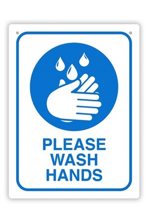 Wash Hands Wall Sign - Blue & White