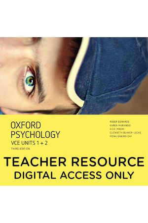 Oxford VCE Psychology - Units 1+2: Teacher obook/assess (Digital Access Only)