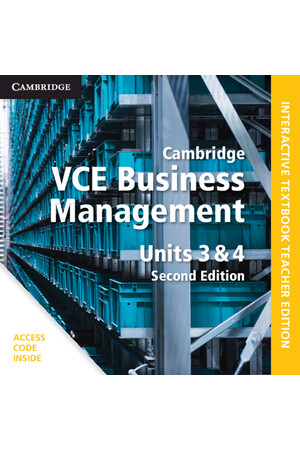 Cambridge VCE Business Management: Units 3 & 4 - Teacher Resource Package: 2nd Edition (Digital Only)