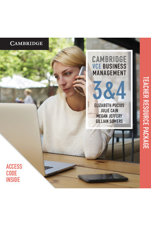 Cambridge VCE Business Management - Units 3&4: Teacher Resource Package (Digital Access Only)