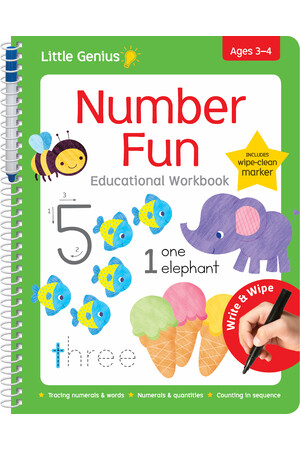 Little Genius - Wipe Clean Work Books With Pen - Number Fun