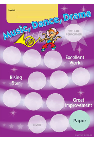 Music, Dance, Drama Achievement Cards - Paper
