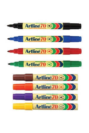 Artline Markers 70 - Permanent 1.5mm (Bullet Nib): Assorted (Pack of 12)