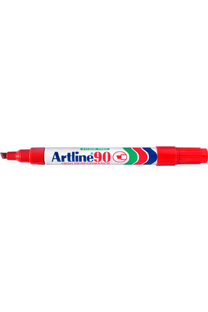Artline Markers 90 - 5mm Permanent (Chisel Nib): Red (Box of 12)