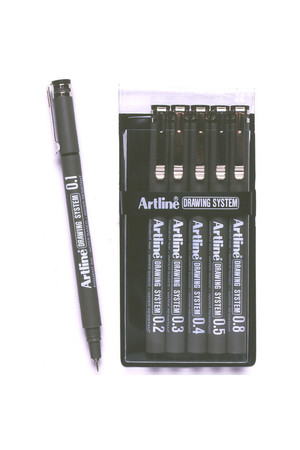 Artline Pens - 230 Drawing System: Black (Pack of 6)