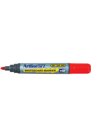 Artline Whiteboard Markers 577 - 2mm Bullet Nib: Red (Box of 12)