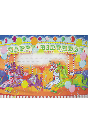 Merry-Go-Round Happy Birthday Certificate - Pack of 35