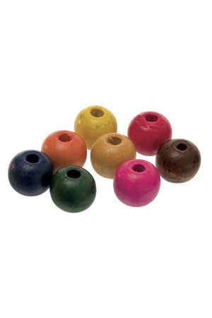 Wooden Beads - Round Assorted (12mm): Pack of 100