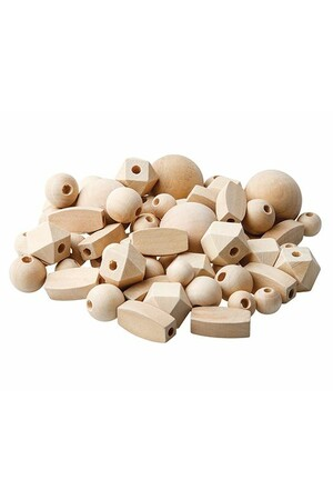 Wooden Beads - Natural Assorted (Pack of 92)