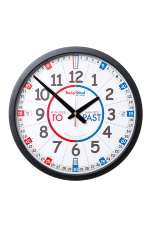 EasyRead 35cm Classroom Clocks - Red & Blue Face