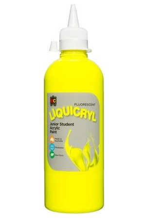 Liquicryl Fluorescent Junior Acrylic Paint 500mL - Yellow
