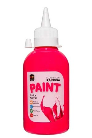 Fluorescent Rainbow Paint Junior Acrylic Paint 250mL - Pink