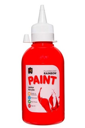 Fluorescent Rainbow Paint Junior Acrylic Paint 250mL - Scarlet