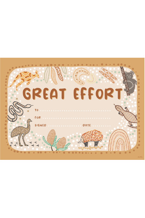 Great Effort Merit Certificate - Pack of 20 Cards