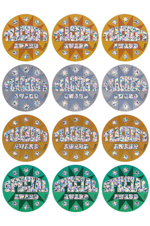 Teacher's Award 40mm Holographic Laser Stickers