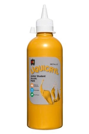 Liquicryl Metallic Junior Acrylic Paint 500mL - Gold