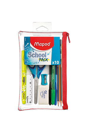Maped Student Kit - School Pencil Case (10 Pieces): Transparent