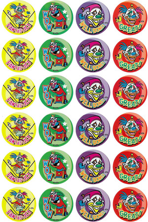Clowns In Town Merit Stickers