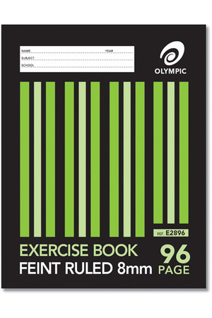 Olympic Exercise Book (225x175mm) - 8mm Ruled: 96 Pages (Pack of 10)