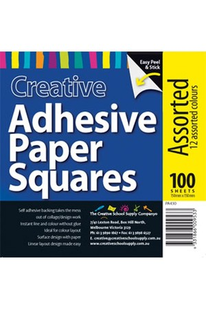 Adhesive Paper Squares - Assorted (Pack of 100)