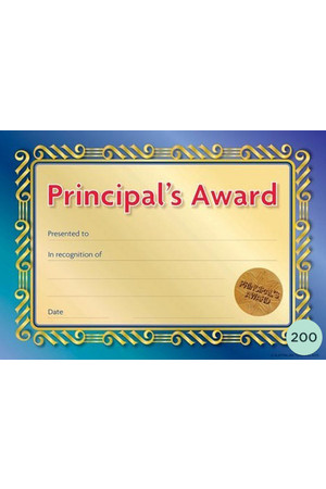 Principal's Formal Seal Award Certificates - Pack of 200