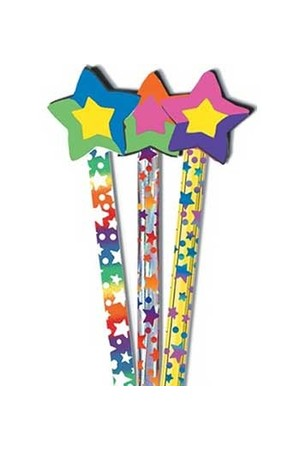 Stars Pencil Toppers - Pack of 6