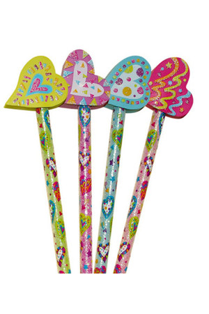 Hearts Pencil Toppers - Pack of 6