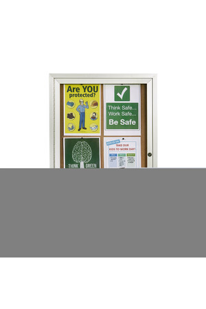 Quartet - Aluminium Frame Enclosed Cork Board: 1-Door (900 x 600mm)