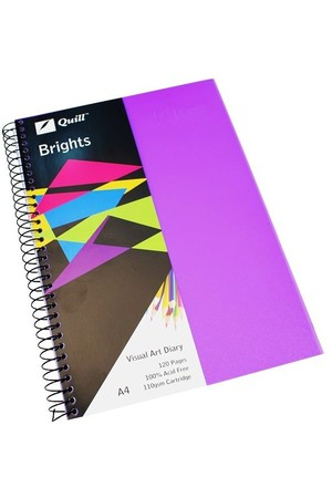 Quill Visual Art Diary - A4 Brights: Dark Purple (60 Leaf)