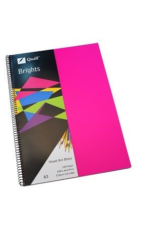 Quill Visual Art Diary - A3 Brights: Cerise Pink (60 Leaf)