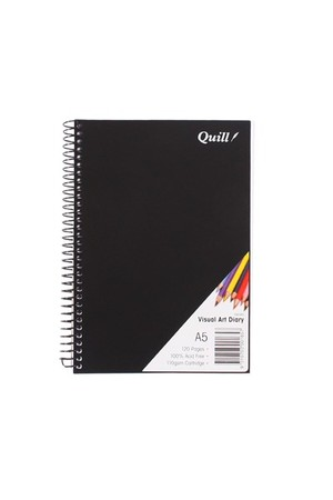 Quill Visual Art Diary - A5 Spiral Black Covered (60 Leaf)