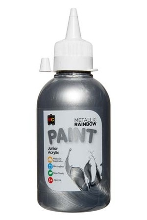Metallic Rainbow Paint Junior Acrylic Paint 250mL - Silver