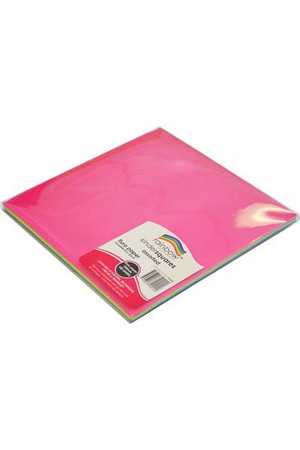 Rainbow Craft Paper (Squares) - Fluoro 250mm (Pack of 100)