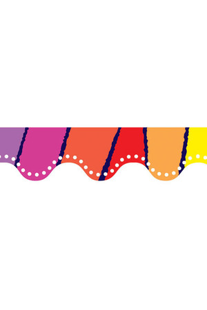 Rainbow Stripes Scalloped Border