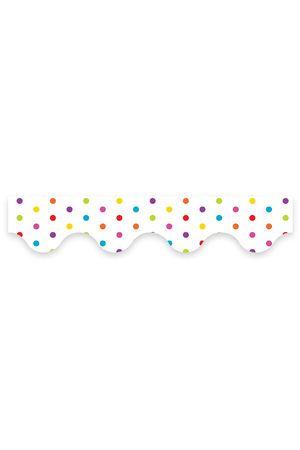 Multicolour Polka Dots (White) - Scalloped Borders (Pack of 12)