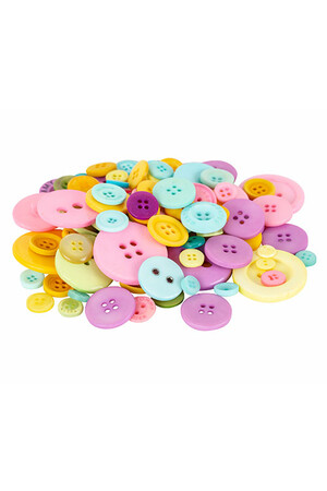 Basics - Buttons: Pastel Colours (Tub of 600g)