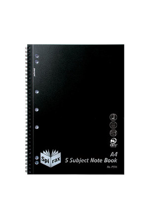 Spirax Notebook P596 - 5 Subject: Polypropylene (Side-Opening) - 250 Pages: Black (Pack of 5)