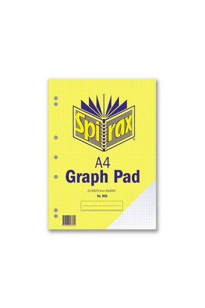 Spirax Graph Pad 805 (A4) - 5mm: 25 Leaf (Pack of 10)